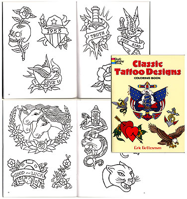 Classic Tattoo Designs Coloring Book By Eric Gottesman