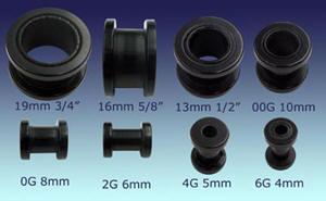 "Ear Gauges, Black Threaded Plastic Ear Tunnels, 6 Gauge to 3/4"""